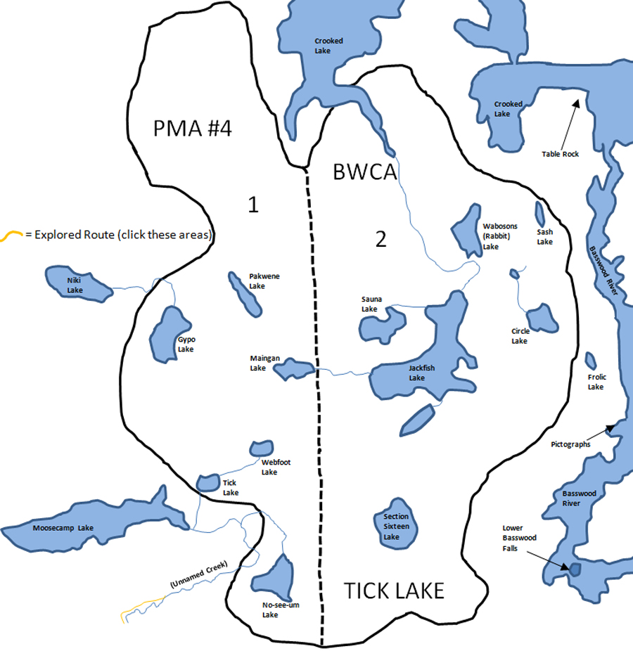 Tick Lake PMA Map BWCA
