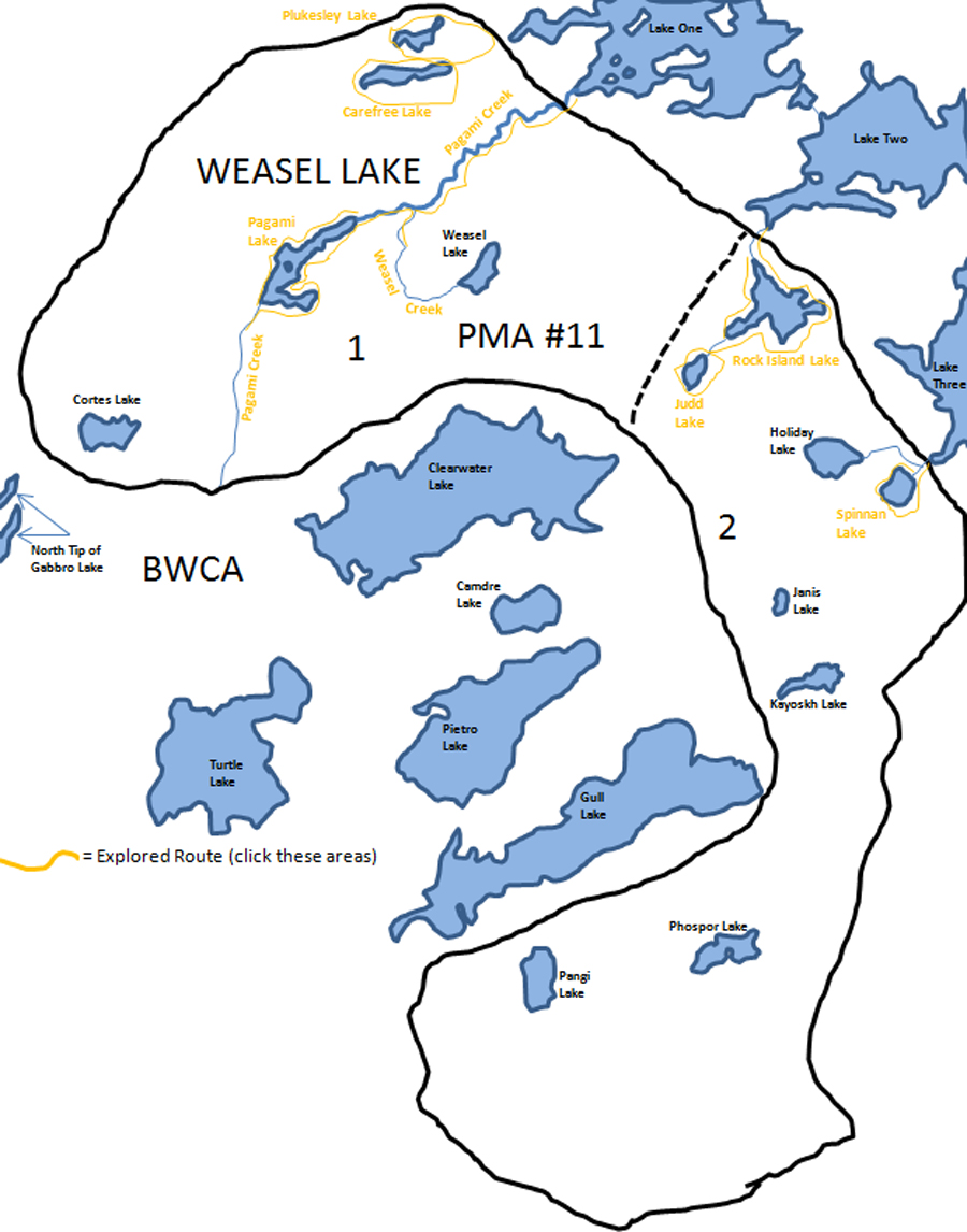Weasel Lake PMA Map BWCA